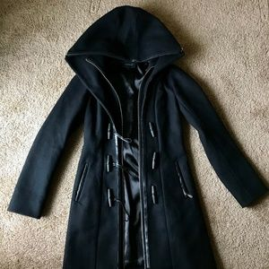 Mackage Steffy Hooded Toggle Scuba Wool Blend Coat